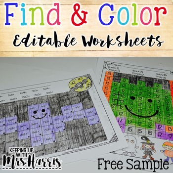 Find & Color Activities - Editable Fall Worksheets Sample
