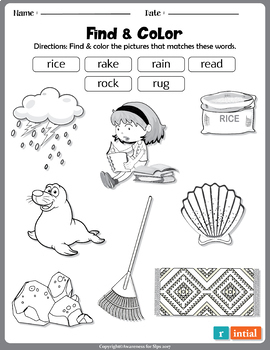 Find &Color; Initial & Final Sounds; Late developing sounds