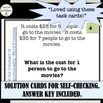 Constant Proportionality Word Problems Task Card Activity (7.RP.A.2.)