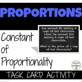 Constant Proportionality Word Problems Task Card Activity 7rpa2