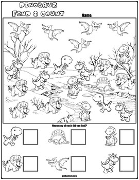 find count dinosaur characters by prekautism tpt. Black Bedroom Furniture Sets. Home Design Ideas