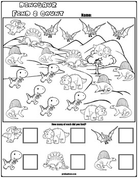 Find & Count Dinosaur Characters