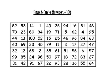 Find & Cover Numbers - 100