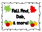 FAll Find and Dab Plus More PK-Kinder Math Centers (3 SETS) Numbers 1-12