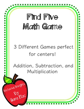 Find Five Math Game- addition, subtraction, multiplication