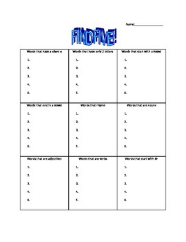 Find Five! Vowels, Nouns, Adjectives, Verbs, Initial Sounds *You can edit*