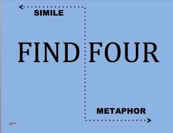 """Find Four"" Simile and Metaphor Board Game - Fun Hands-On Learning!"