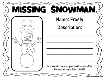 A Christmas Literacy Station Activity: Find Frosty with Adjectives