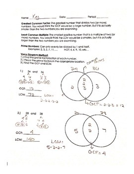 Find GCF and LCM using a Venn Diagram