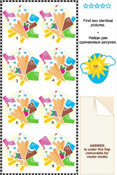 Find Identical Images Visual Puzzle – Ice-Cream, Commercial Use Allowed