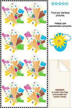 Find Identical Images Visual Puzzle – Ice-Cream, Commercia