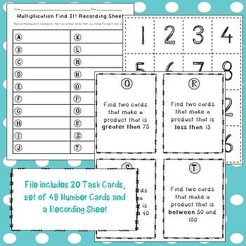 Find It: A One-Digit Multiplication Task Card Game