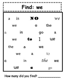 Find It: A sight word task