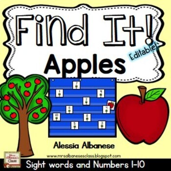Find It! Apples - {Numbers 1-10 and Sight Words}