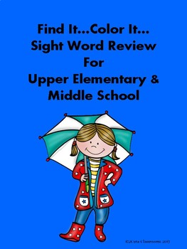 Find It...Color It Sight Word Review for Upper Elementary & Middle School