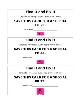 Find It Fix It Classroom Rewards