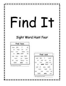 Find It Four: A sight word task