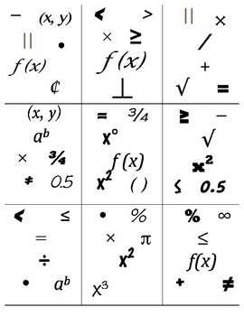 Find It! Math Symbols -- Middle School
