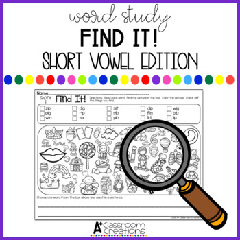 Find It!  Short Vowel Edition