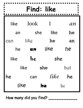 Find It Three: A sight word task