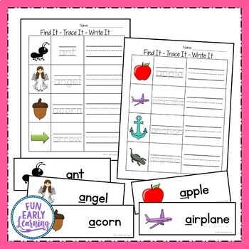 Find It - Trace It - Write It Literacy Literacy Center Activity