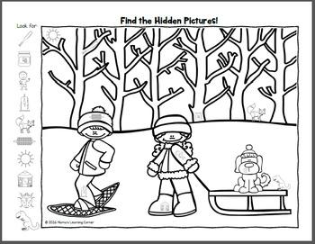 Find It! Winter Hidden Picture Worksheets