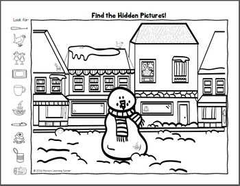 Find It! Winter Hidden Picture Worksheets