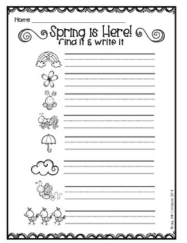 Find It! Write It! Spring Edition FREEBIE