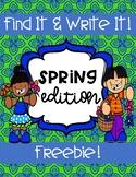 Find It! Write It! Spring Edition FREEBIE