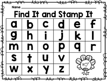 Find It and Stamp It - Turkey Theme