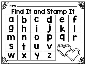 Find It and Stamp It - Valentine Theme