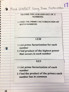 Find LCM & GCF Using Prime Factorization Interactive Notebook Foldable
