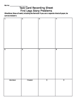Find Legs Word Problems Task Cards RECORDING SHEET