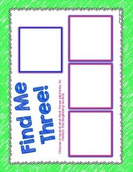 Find Me Three Literacy Center {Beginning Sounds}