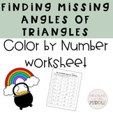Missing Angle in a Triangle Worksheet: Color By Number (St