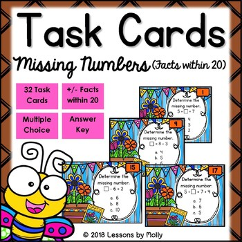 Find Missing Numbers for Addition and Subtraction Facts within Twenty Task Cards