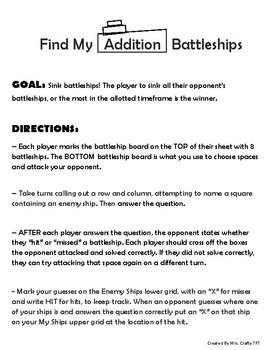 Find My Addition Battleships