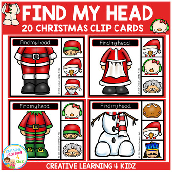 Find My Head Clip Cards: Christmas