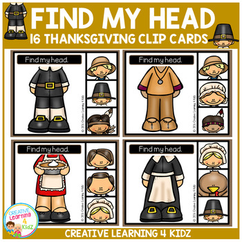 Find My Head Clip Cards: Thanksgiving