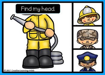 Find My Head: Community Helpers Digital Task Cards: BOOM CARDS