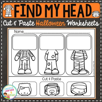 Find My Head Cut & Paste Worksheets: Halloween