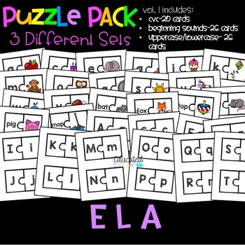 ELA Puzzle Pack Vol. 1: Beginning Sounds, CVC, Uppercase/Lowercase