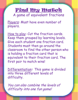 Find My Match! Equivalent Fraction Game