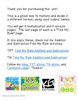Find My Rule! Multiplication and Division
