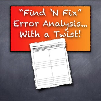 Find 'N Fix: Twist on Error Analysis: Role Playing for Student Engagement