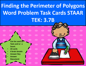 Find Perimeter of Polygons Word Problem Task Cards STAAR TEK 3.7B