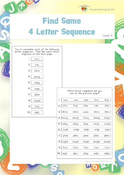 Find Same 4 Letter Sequence (Visual Perception Worksheets)