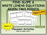 Find Slope & Write Linear Equations Given Two Points Placemat Activity