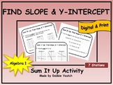 Find Slope and Y-Intercept Sum It Up Activity   Digital - Distance Learning