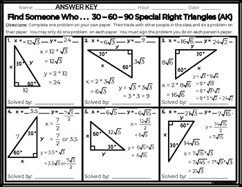 Find Someone Who . . . 30 - 60 - 90 Special Right Triangles